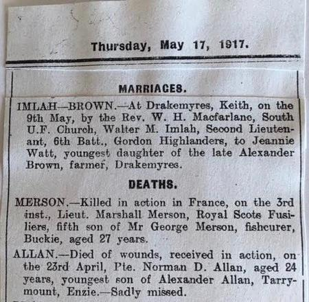 Marriage of W M Imlah to J W Brown 1917