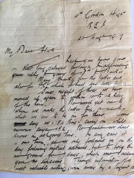Letter from Walter Imlah to his brother 1917