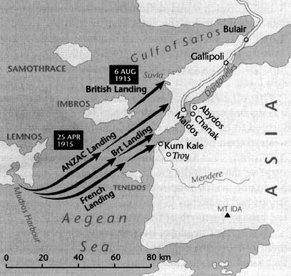 Map of Gallipoli Landings