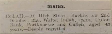 Newspaper notice of death of Walter Imlah, aged 43
