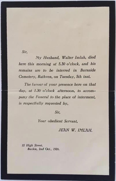 Funeral Notice for Walter Imlah, 5th October 1926