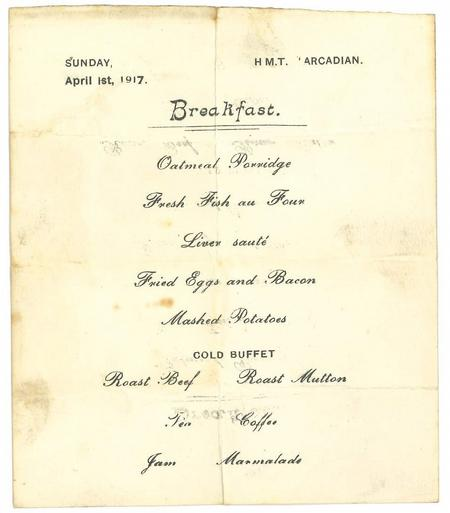 Menu card from H.M.T. Arcadian, 1 Apr 1917