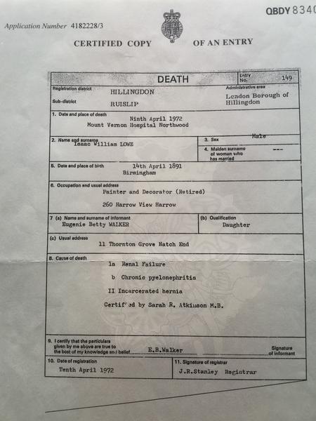 Death Certificate I W Lowe