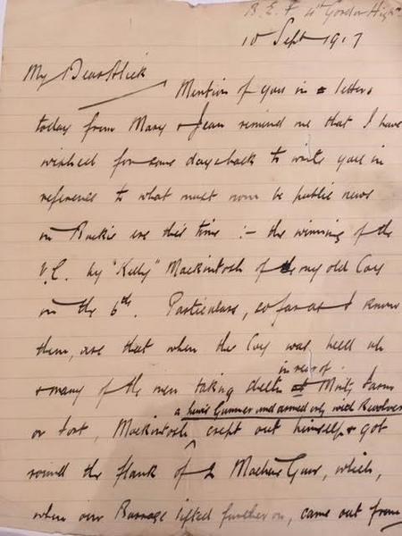 Letter from Walter to brother Alick home on leave