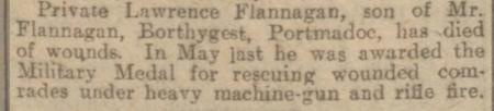 Report of Private Flanagan's death