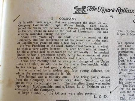 Tiger & Sphinx Obituary Walter Imlah, Nov. 1926