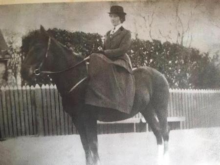 Jeannie Watt Brown on horseback c 1905