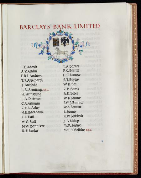 Detail Page from Barclays Bank Book of Remembrance