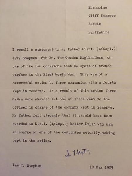 Letter re awarding of M.C.s - Gordon Highlanders