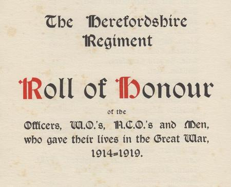 Herefordshire Regiment Roll of Honour - title page