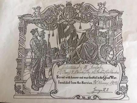 Certificate awarded to Lieut. W Imlah 1919