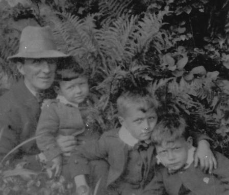 Walter Imlah with his 3 sons in the garden