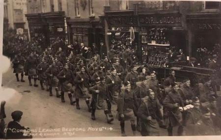 6th Gordons leaving Bedford 9.11.1914
