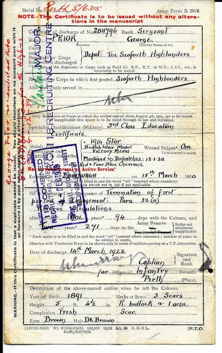 Discharge Certificate of George Prior