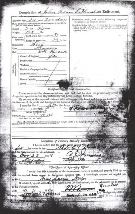 John Adam Cathersides WW1 Service Records