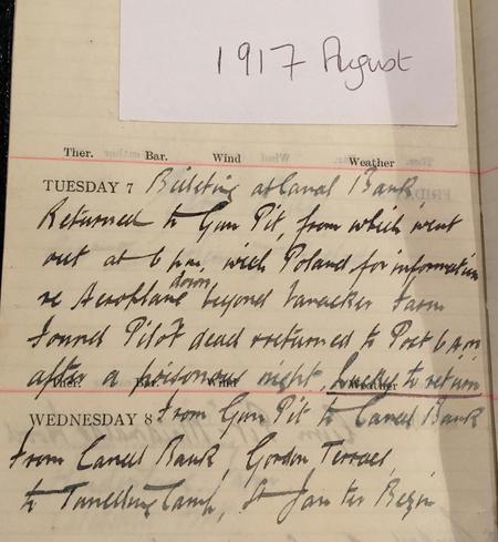 W Imlah diary entry 7.8.1917 'Lucky to Return'