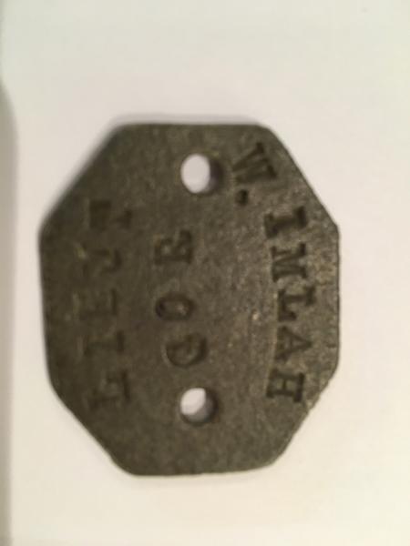 WW1 Aluminium name tag Lieut W Imlah