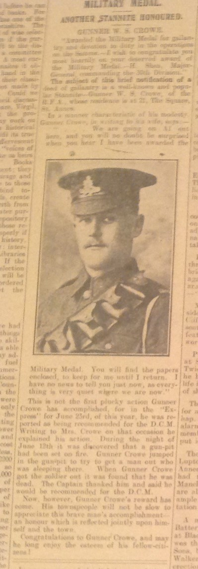 News Cutting with Military Medal for Gunner Crowe