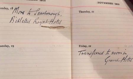 Diary Nov 1918 Walter billeted in Scarborough