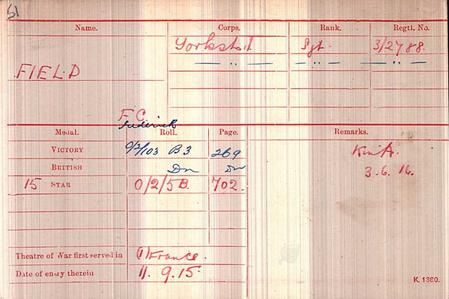 Frederick Charles Field, Medal Roll Index Card
