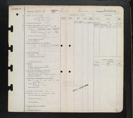 David Thomas Waldron RAF record