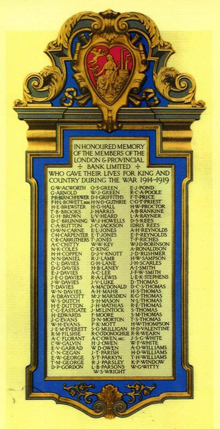 London & Provincial Bank memorial poster