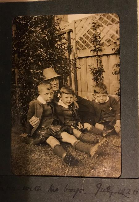 Father Walter with his 3 boys July 1926