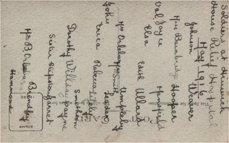 Reverse Hinwick House Relief Hospital 1916
