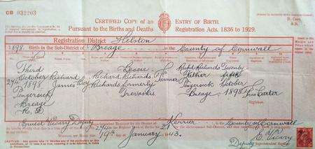 Richard James Richards birth