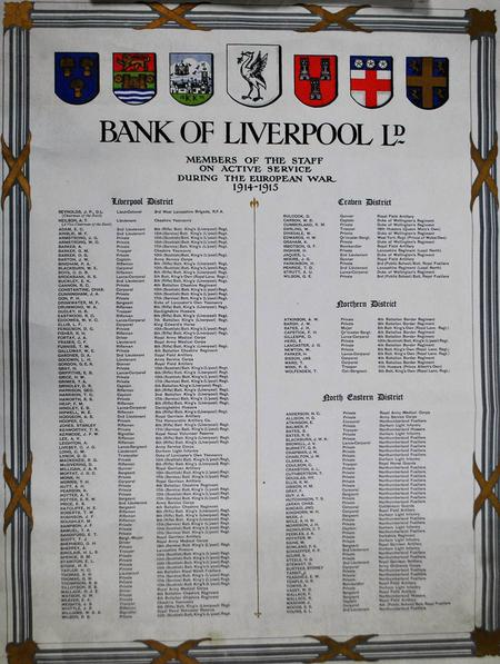 Bank of Liverpool Active Service roll 1914-15