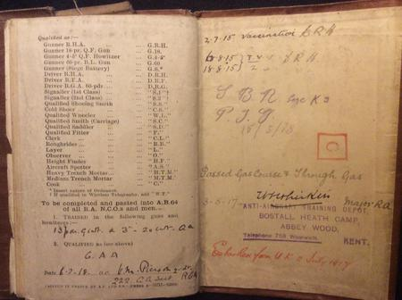 Back page of Soldiers Pay Book