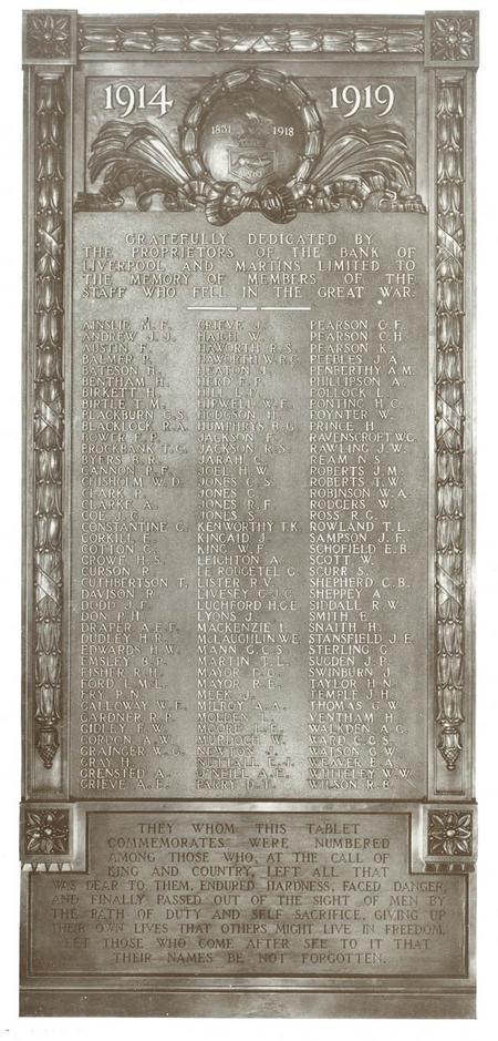 Original Bank of Liverpool & Martins WW1 Memorial