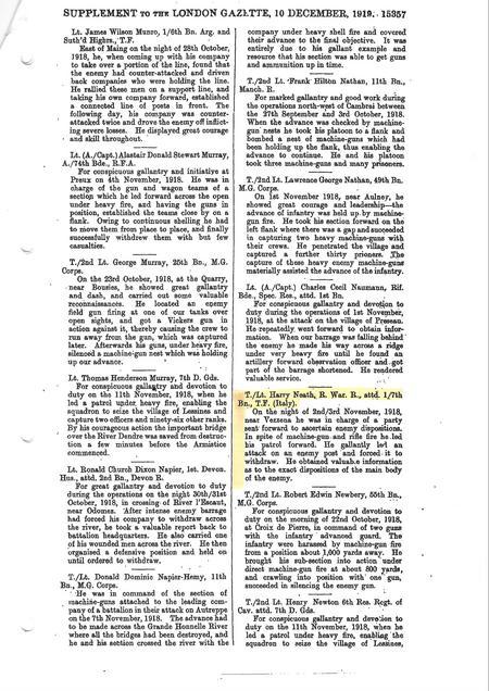 London Gazette 2nd Supplement 31680 of 10-12-1919