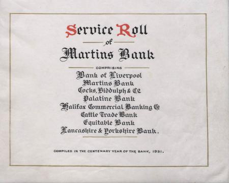 Service Roll of Martins Bank - Title Page