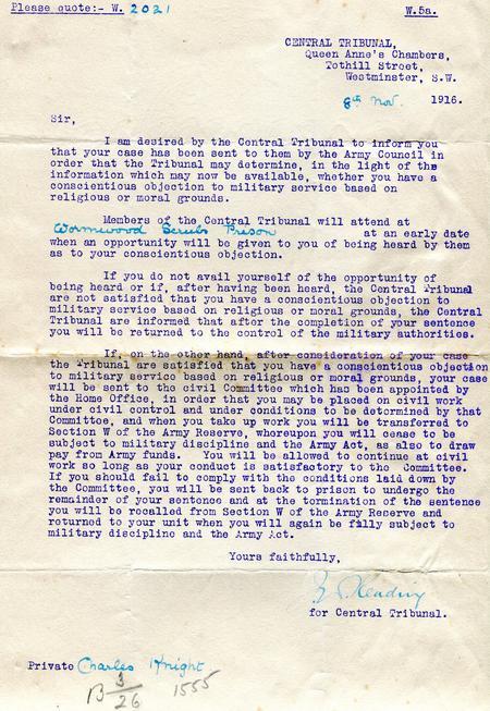 Central tribunal letter