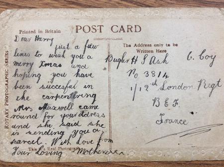 Postcard to Bugler H G Ash No 3814. C Company