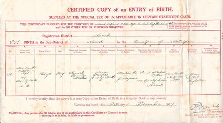 George Stoakes Birth Certificate