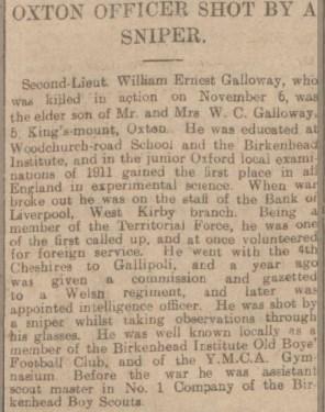 Report of 2nd Lieut Galloway's death