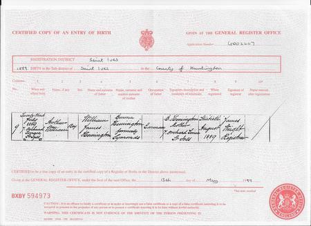 Birth Certificate of Arthur
