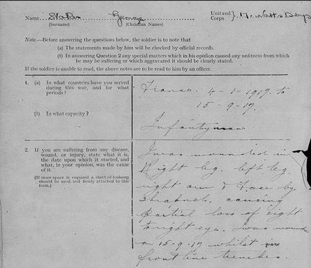Pte George Stoakes' Written Statement of Wounds