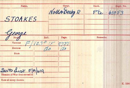 British Army, WW1 Medal Index Card