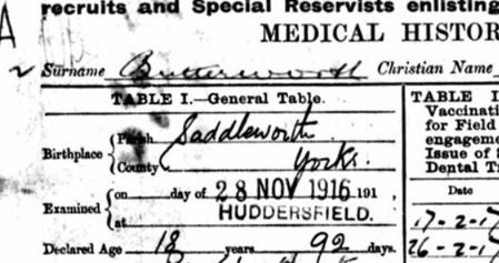 Alfred Spencer Butterworth's Medical Record