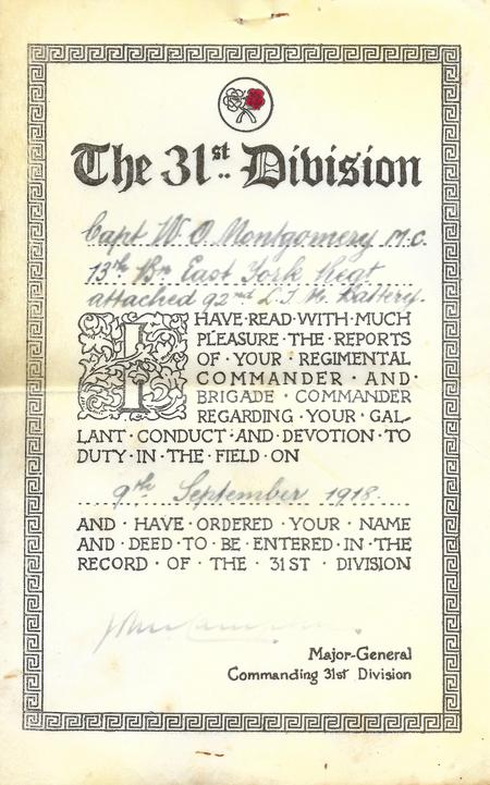 31st Division Gallantry Certificate