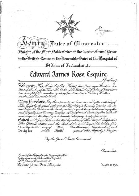 Serving Brother Certificate Edward James Rose Esq