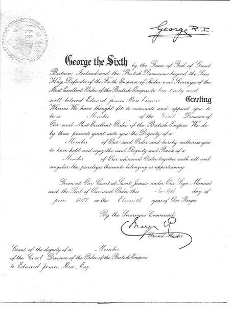 MBE Certificate Edward James Rose