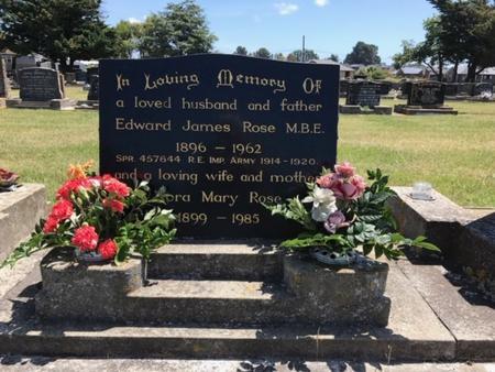 Headstone of Edward James Rose's grave