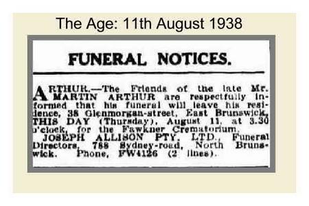 Funeral Notice for Martin Arthur