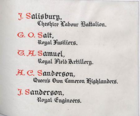 Detail page from Service Roll of Martins Bank