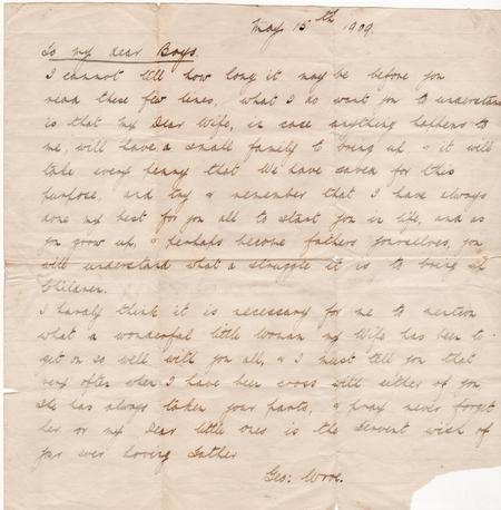 1909 George Wroe letter to sons