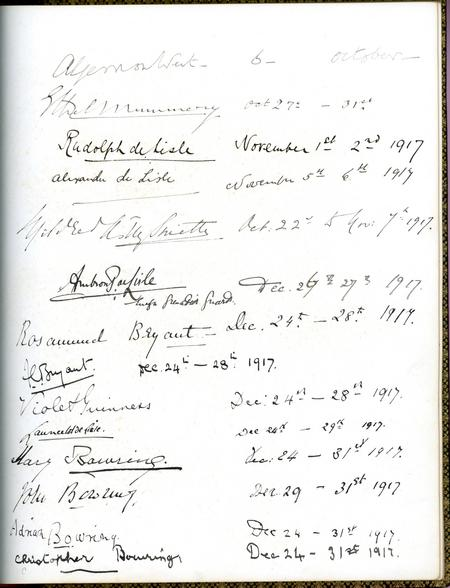 Visitors' Book from South Hill Park, Easthampstead